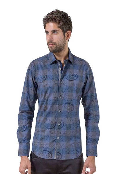 BARABAS Men's Paisley Checkered Navy Button-down Dress Shirt 5745