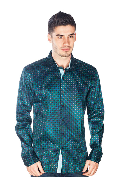 Barabas Men's Geo Printed Design Long Sleeves Teal Shirt B9016