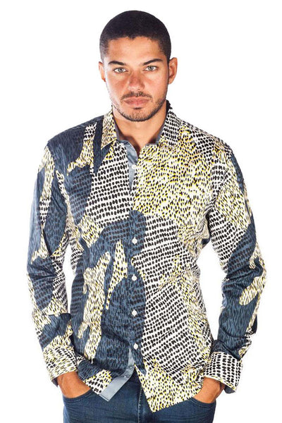 BARABAS Men's Printed Leopard Gold Grey Button Down Shirts B9019