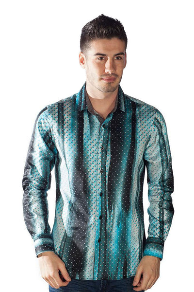 BARABAS Men's Printed Gradient Striped Dotted Button Down Shirts 9036