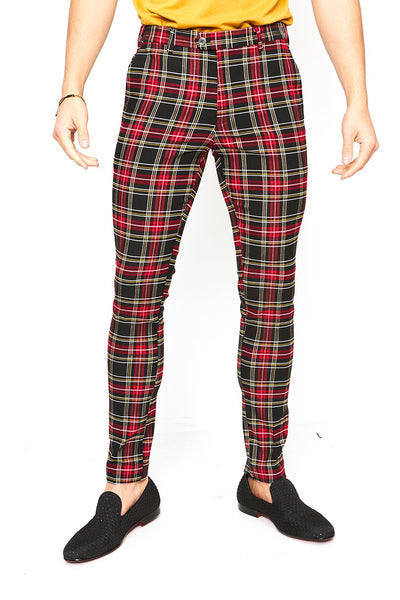 BARABAS men's checkered plaid black red chino pants CP26
