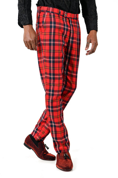 BARABAS men's checkered plaid Red and White chino pants CP48
