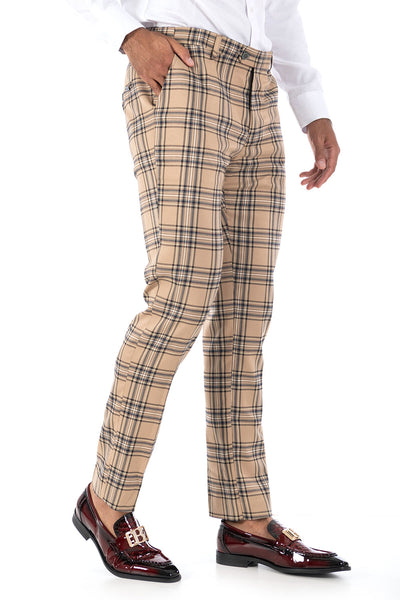 BARABAS men's checkered plaid Cream Black chino pants CP60