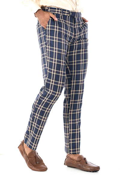 BARABAS men's checkered plaid navy and beige chino pants CP61