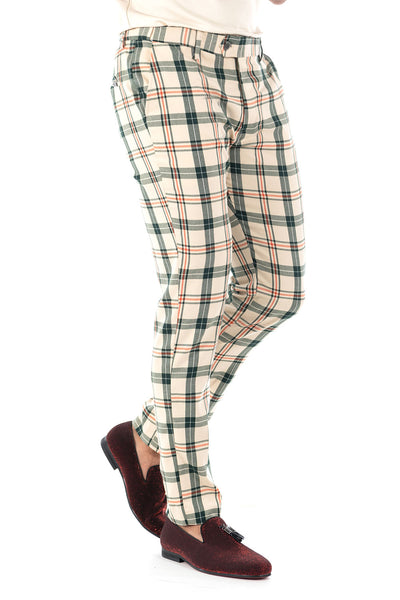 BARABAS men's checkered plaid cream green chino pants CP74