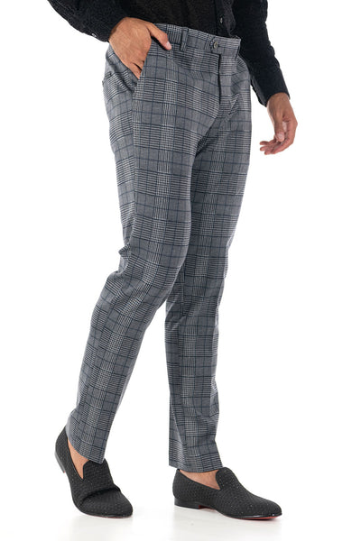 BARABAS men's checkered plaid Grey Navy chino pants CP75