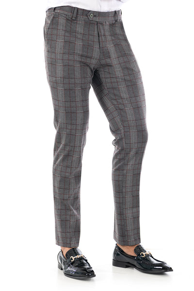 BARABAS men's checkered plaid Grey Wine chino pants CP76