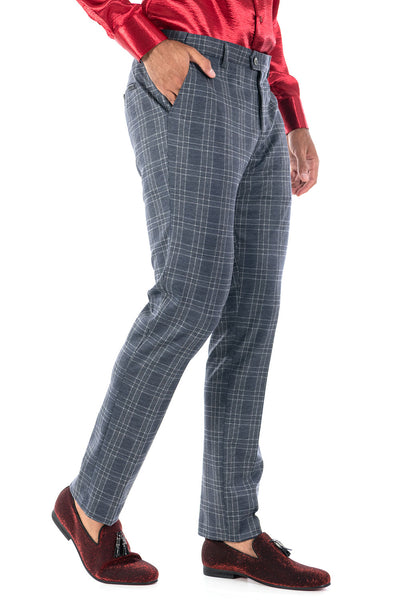 BARABAS men's checkered plaid cream navy light grey chino pants CP80
