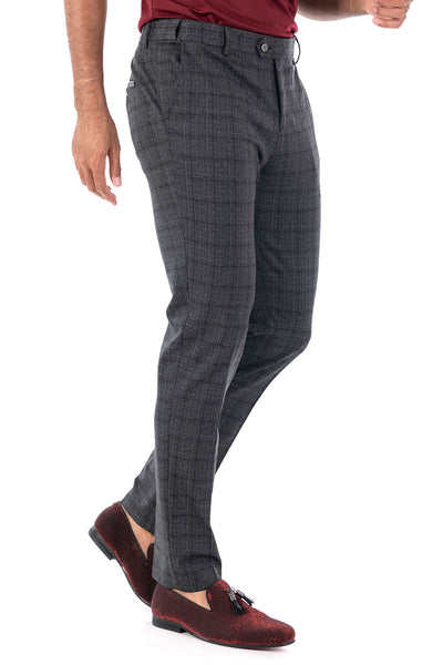 BARABAS men's checkered plaid Black Grey chino pants CP82
