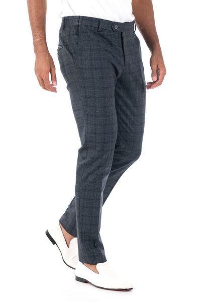 BARABAS men's checkered plaid Navy Grey chino pants CP83