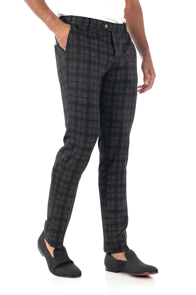 BARABAS men's checkered plaid Black Grey chino pants CP84