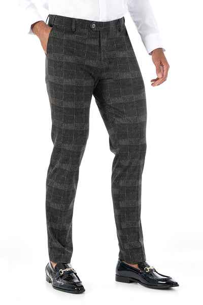 BARABAS men's checkered plaid black chino pants CP85