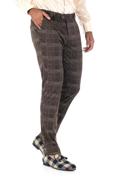 BARABAS men's checkered plaid brown cream chino pants CP86