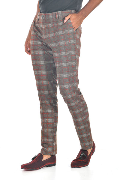 BARABAS men's checkered plaid red coffee chino dress pants CP88