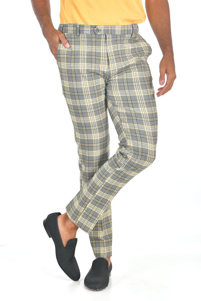 BARABAS men's checkered plaid Grey and Yellow chino pants CP89