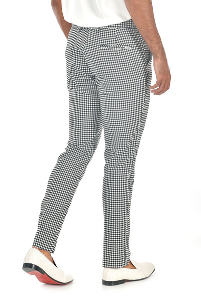 BARABAS men's checkered plaid Black and White chino pants CP92