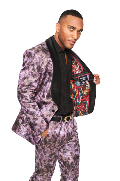 Barabas Men's The Signature Purple Haze Print Luxury Design Blazer SU124