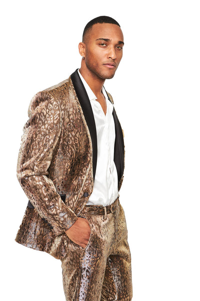 BARABAS Men's Leopard Shiny Design Brown Signature Blazer SU123