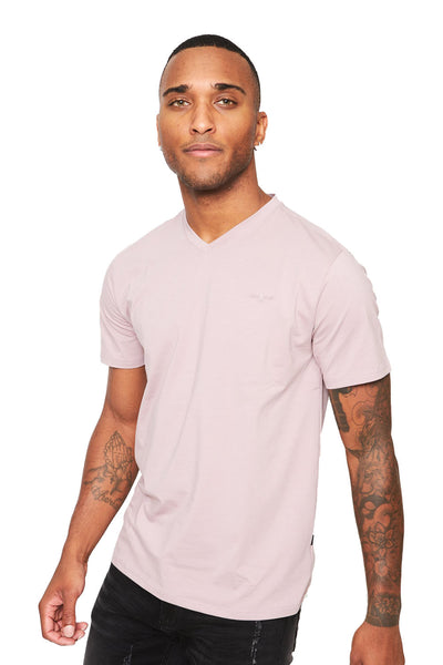BARABAS Men's Solid Color V-neck T-shirts VTV216 Purple