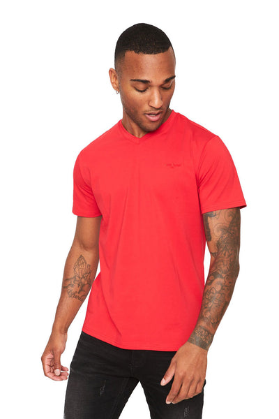 BARABAS Men's Solid Color V-neck T-shirts VTV216  Red