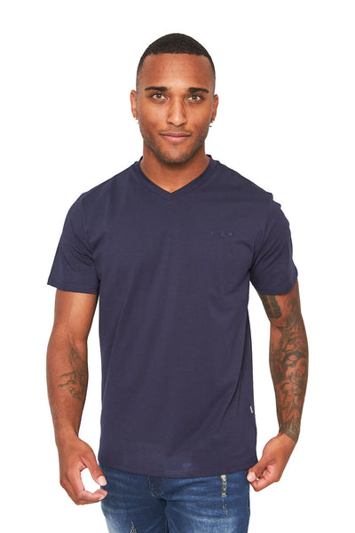 BARABAS Men's Solid Color V-neck T-shirts VTV216  Navy