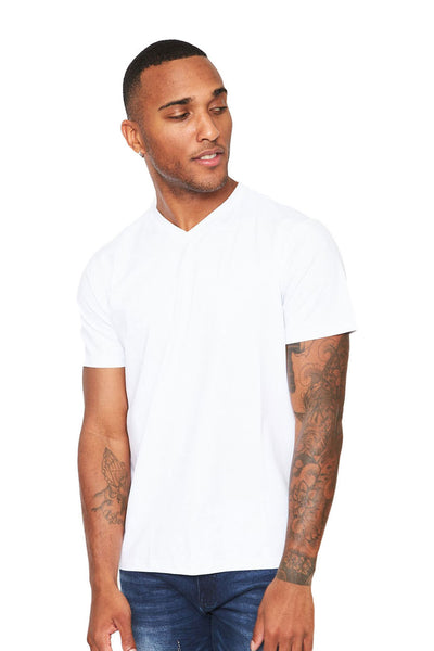 BARABAS Men's Solid Color V-neck T-shirts VTV216 White