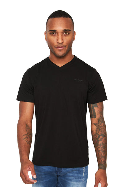 BARABAS Men's Solid Color V-neck T-shirts VTV216  Black