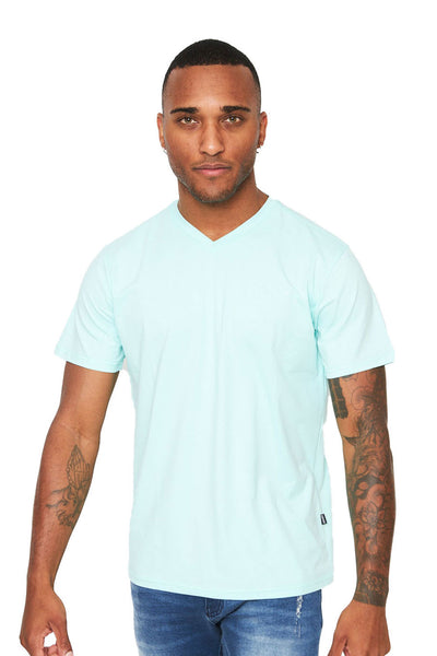 BARABAS Men's Solid Color V-neck T-shirts VTV216 Aqua