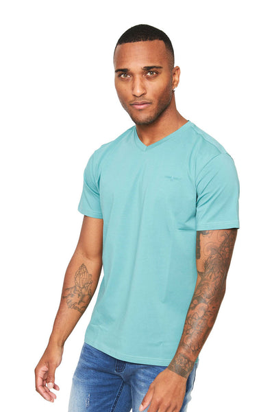 BARABAS Men's Solid Color V-neck T-shirts VTV216 Cayenne
