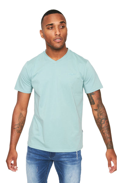 BARABAS Men's Solid Color V-neck T-shirts VTV216 Green