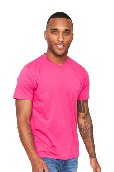 BARABAS Men's Solid Color V-neck T-shirts VTV216 Fuchsia
