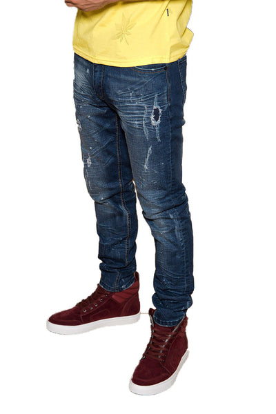 BARABAS Men's Ripped Distressed Washed Blue Jeans DT09