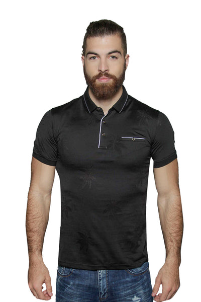 BARABAS Men floral leaf texture black polo Shirts JQF001