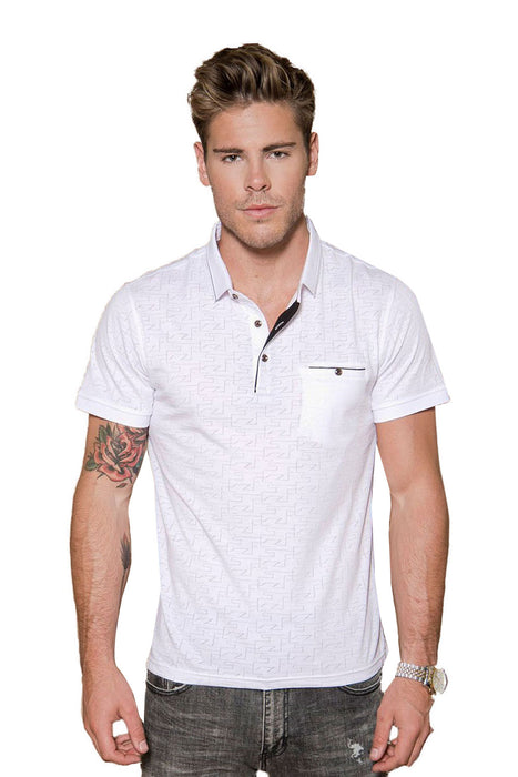 Grid -Perforated geo print polo shirt | BARABAS