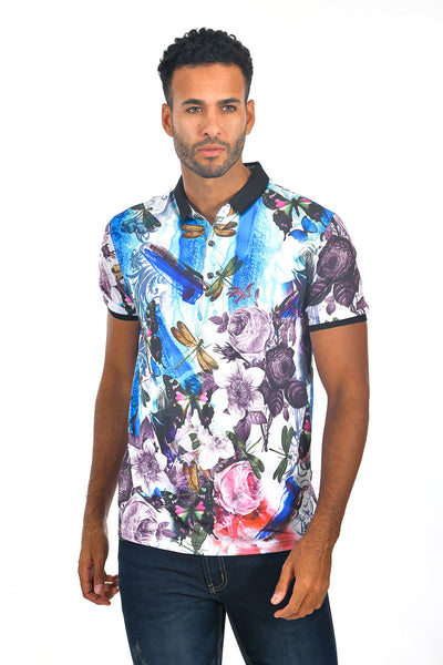 BARABAS Men Printed Dragonfly floral Blue Polo shirts LP109