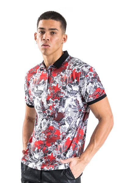 BARABAS men's floral printed red white polo Shirts LP118