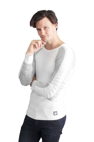 BARABAS Men Sweater Tracks LS-201 White