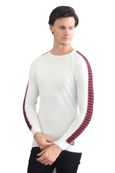 BARABAS men's knitted crew neck white red sweater LP205