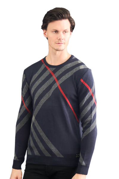 Barabas Men's Solid W/ White Stripes Luxury Design Long sleeved Sweatshirt LS223