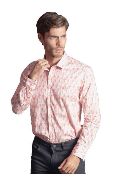 Barabas Men's Pink Ice Cream Cone Printed Long Sleeves Shirt LT456