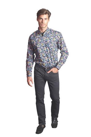 Floral Shirt with Black Jeans