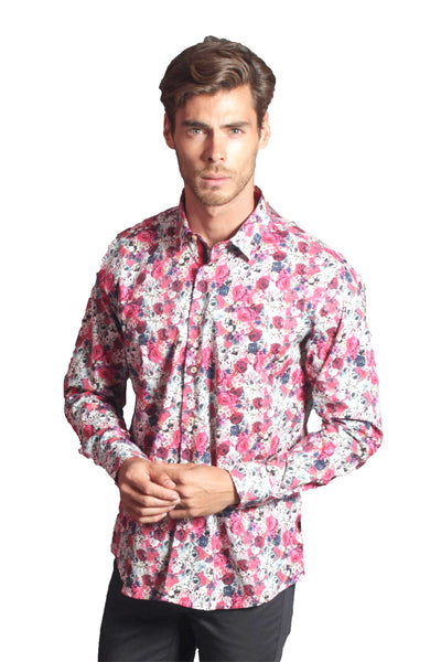 BARABAS Men's Printed Floral Rose Long Sleeve Pink Shirt LT472