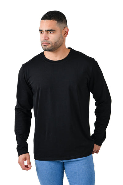Barabas Men's Solid Color Crew Neck Sweatshirts LV127 Black