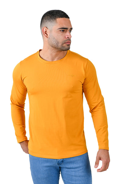Barabas Men's Solid Color Crew Neck Sweatshirts LV127 Mustard