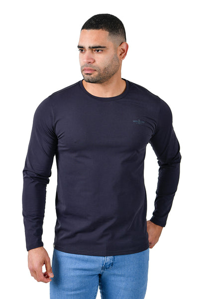 Barabas Men's Solid Color Crew Neck Sweatshirts LV127 Navy