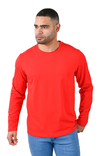 Barabas Men's Solid Color Crew Neck Sweatshirts LV127 Red
