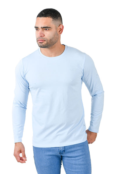 Barabas Men's Solid Color Crew Neck Sweatshirts LV127 Sky Blue