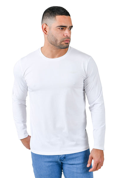 Barabas Men's Solid Color Crew Neck Sweatshirts LV127 White