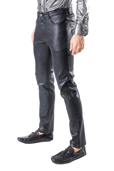 BARABAS men's shiny glittery black chino pants CPW26