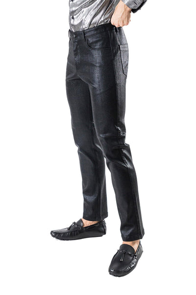 Barabas Men's Shine Finish Button Fastening Stretch Straight Fit Dress Pants CPW25 BLACK